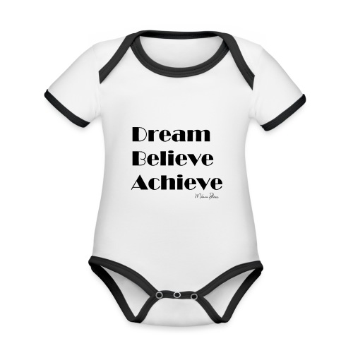DREAM BELIEVE ACHIEVE - Body Bébé bio contrasté manches courtes