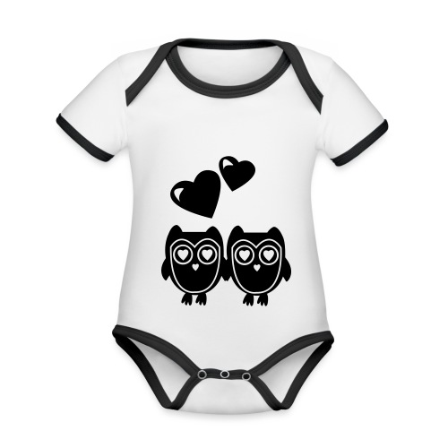 verliebte Eulen - Baby Bio-Kurzarm-Kontrastbody