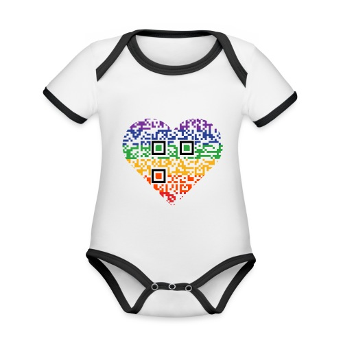 Love is Love | QR-Code | Pride - Baby Bio-Kurzarm-Kontrastbody