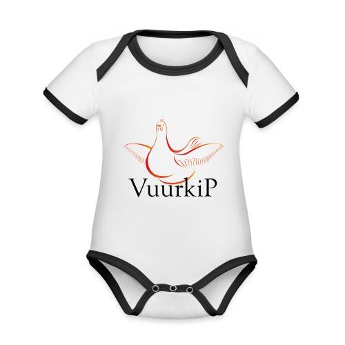 Vuurkip - Baby contrasterend bio-rompertje met korte mouwen
