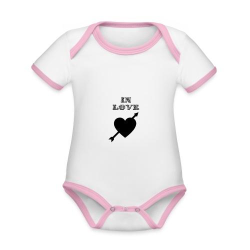 I'm In Love - Body da neonato a manica corta, ecologico e in contrasto cromatico