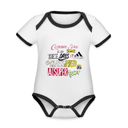 PHYK-logoja - Vauvan kontrastivärinen, lyhythihainen luomu-body