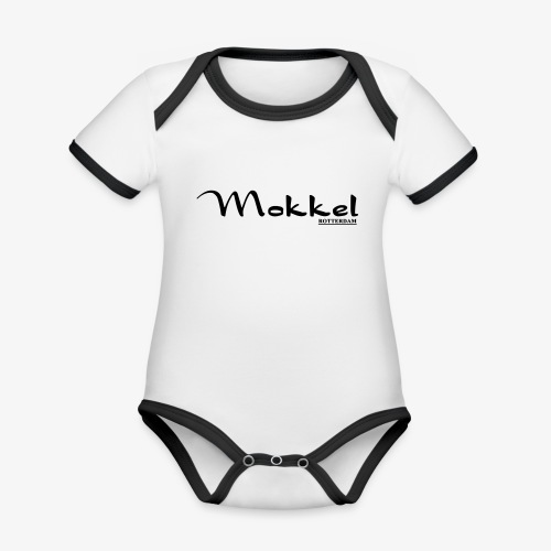 mokkel - Baby contrasterend bio-rompertje met korte mouwen
