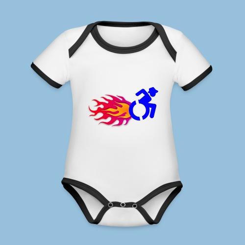 Wheelchair with flames 012 - Baby contrasterend bio-rompertje met korte mouwen