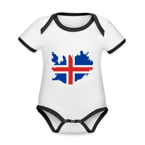 Iceland - Baby contrasterend bio-rompertje met korte mouwen