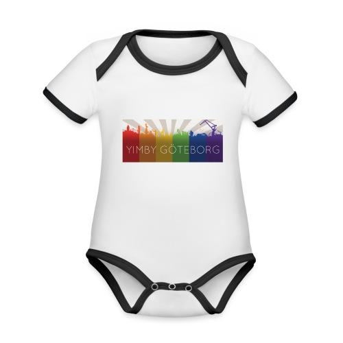 Yimby regnbågs-Tshirt - Ekologisk kontrastfärgad kortärmad babybody