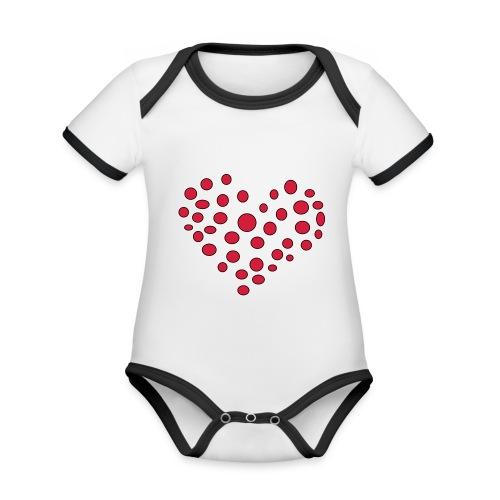 Polka - Kortærmet økologisk babybody i kontrastfarver