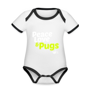 Peace Love and Pugs - Body Bébé bio contrasté manches courtes