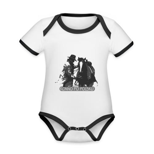horse2 - Ekologiczne body niemowlęce z krótkim rękawem i kontrastowymi lamówkami