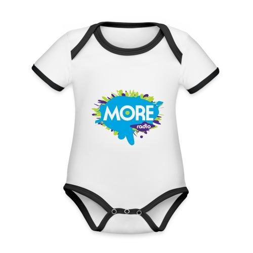 More Radio 2017 - Baby contrasterend bio-rompertje met korte mouwen