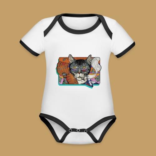 Crime Cat - Ekologiczne body niemowlęce z krótkim rękawem i kontrastowymi lamówkami