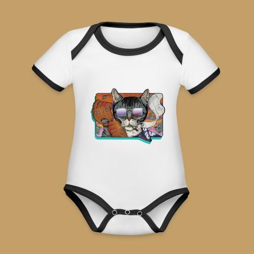 Crime Cat in Shades - Ekologiczne body niemowlęce z krótkim rękawem i kontrastowymi lamówkami