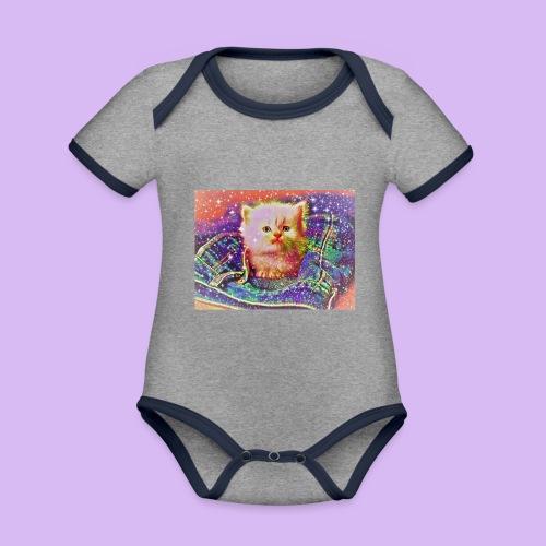 Gattino scintillante nella tasca dei jeans - Body da neonato a manica corta, ecologico e in contrasto cromatico