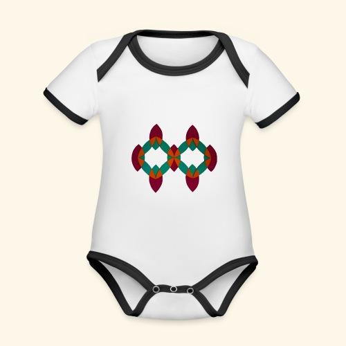 roseoranjegroen - Baby contrasterend bio-rompertje met korte mouwen