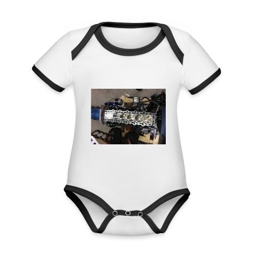 Motor tröja - Ekologisk kontrastfärgad kortärmad babybody