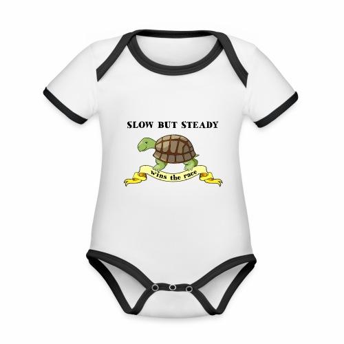 Slow but Steady - Ekologisk kontrastfärgad kortärmad babybody