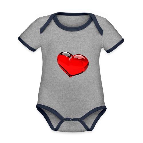 serce 3D - Ekologiczne body niemowlęce z krótkim rękawem i kontrastowymi lamówkami