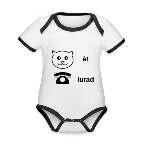 Katt åt telefon - Ekologisk kontrastfärgad kortärmad babybody