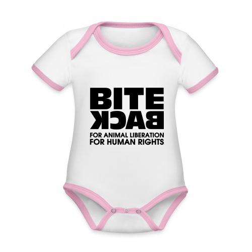Bite Back logo - Baby contrasterend bio-rompertje met korte mouwen