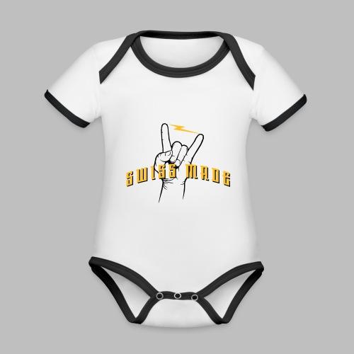 SWISS MADE - Baby Bio-Kurzarm-Kontrastbody