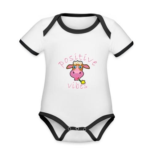 positive cow pink - Body da neonato a manica corta, ecologico e in contrasto cromatico