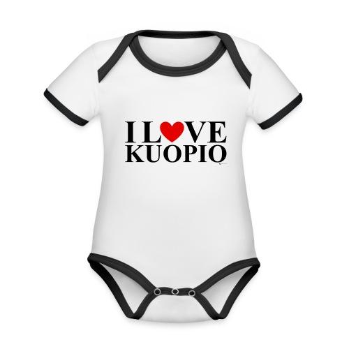 I LOVE KUOPIO (koko teksti, musta) - Vauvan kontrastivärinen, lyhythihainen luomu-body