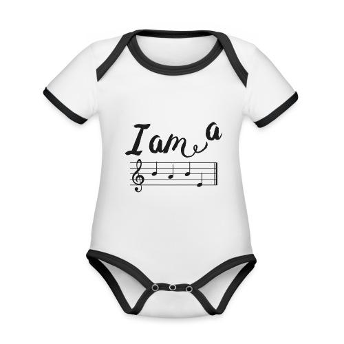 ImABabe - Baby contrasterend bio-rompertje met korte mouwen