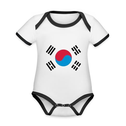 South Korea - Baby contrasterend bio-rompertje met korte mouwen