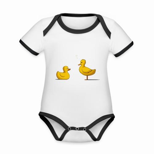 Canard Suspicieux - Body Bébé bio contrasté manches courtes