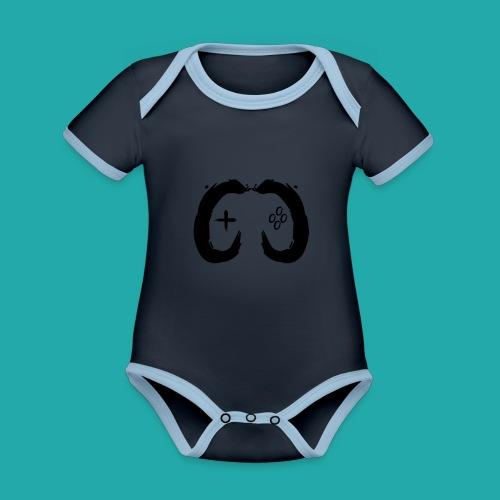 Crowd Control Controller Logo Black Large - Organic Baby Contrasting Bodysuit