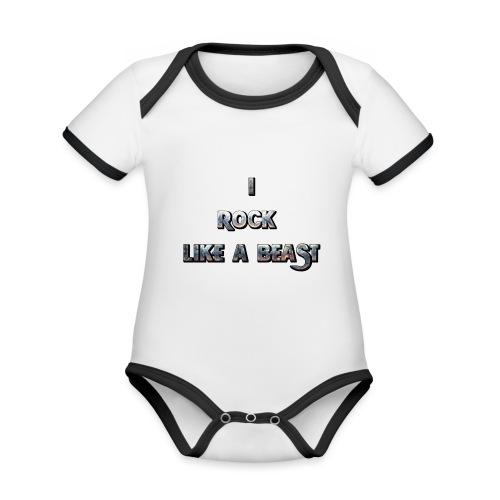Irocklikeabeast Logo - Ekologisk kontrastfärgad kortärmad babybody