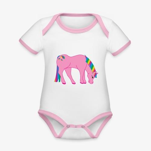 Regenbogen Pferd - Baby Bio-Kurzarm-Kontrastbody