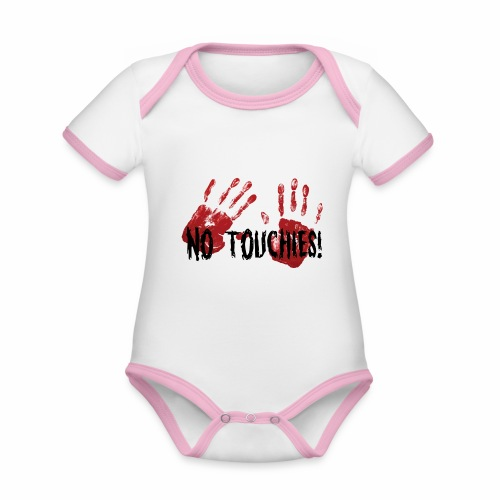 No Touchies 2 Bloody Hands Behind Black Text - Organic Baby Contrasting Bodysuit