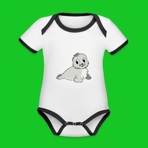 Zeehondje - Baby contrasterend bio-rompertje met korte mouwen