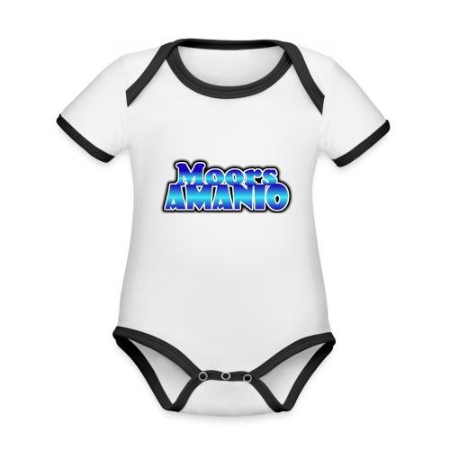 MoorsAmanioLogo - Baby contrasterend bio-rompertje met korte mouwen