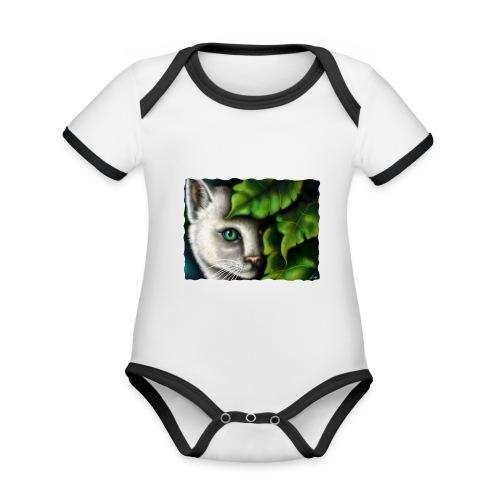 Gatto Shiva - Body da neonato a manica corta, ecologico e in contrasto cromatico