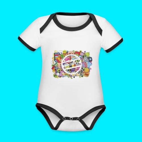 maglia logo doodle - Body da neonato a manica corta, ecologico e in contrasto cromatico