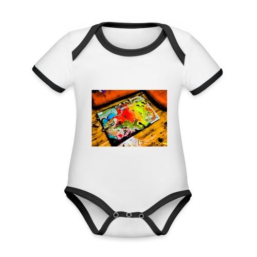 Love hope peace - Ekologiczne body niemowlęce z krótkim rękawem i kontrastowymi lamówkami