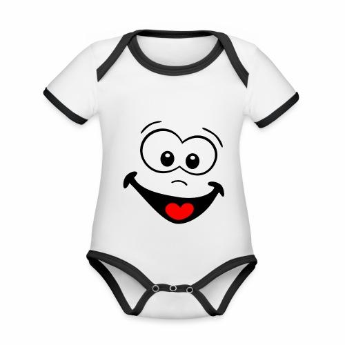 Gesicht lachen - Baby Bio-Kurzarm-Kontrastbody