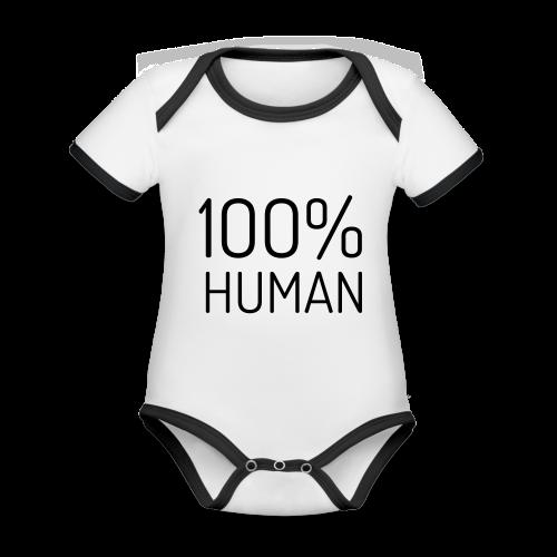 100% Human - Baby contrasterend bio-rompertje met korte mouwen