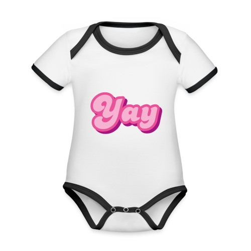 YAY in Pink - Organic Baby Contrasting Bodysuit