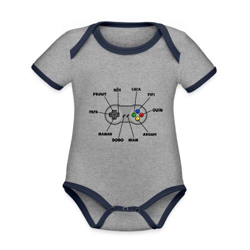 Bébé aux commandes - noir - Body Bébé bio contrasté manches courtes