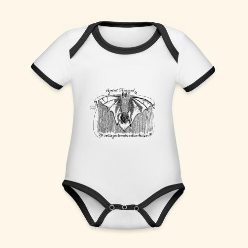 Spirit Animal Fledermaus schwarz - Baby Bio-Kurzarm-Kontrastbody