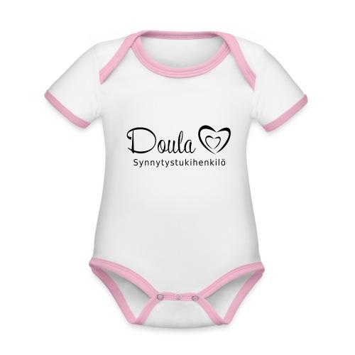 doula sydämet synnytystukihenkilö - Vauvan kontrastivärinen, lyhythihainen luomu-body
