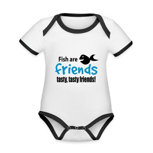 Fisk er venner - Økologisk kortermet kontrast-babybody
