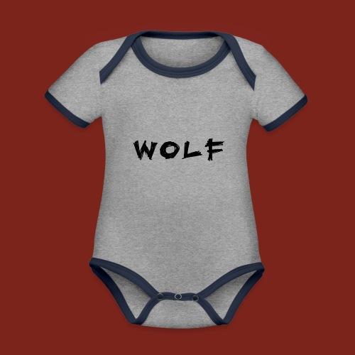 Wolf Font png - Baby contrasterend bio-rompertje met korte mouwen