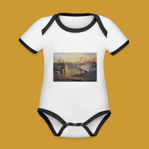 White Fishing - Mark Noble Art - Organic Baby Contrasting Bodysuit
