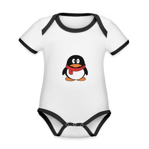 pinguinlog png - Baby contrasterend bio-rompertje met korte mouwen