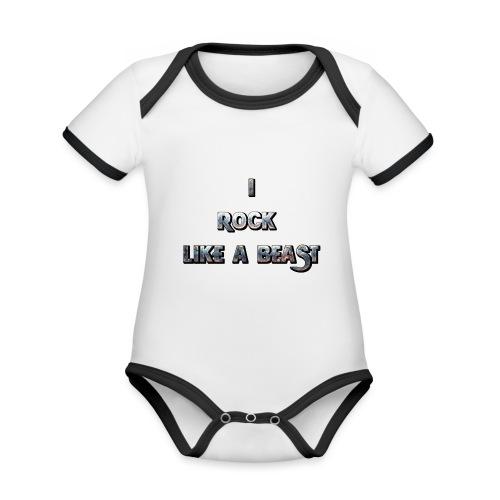 IROCKLIKEABEAST Big png - Ekologisk kontrastfärgad kortärmad babybody