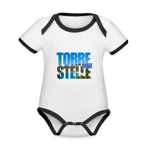TorreTshirt - Body da neonato a manica corta, ecologico e in contrasto cromatico